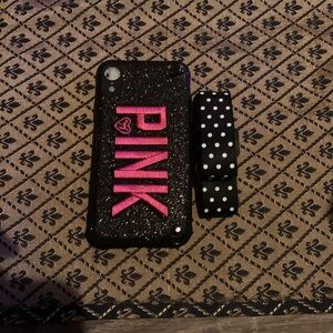 Black Pink Glitter IPhone XR Case with Strap